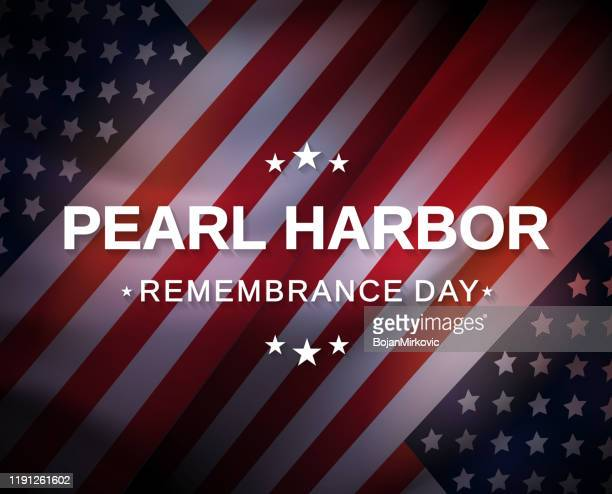 pearl harbor remembrance day poster with usa flag. vector - memorial event stock illustrations
