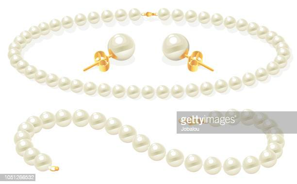illustrations, cliparts, dessins animés et icônes de ensemble de bijoux de perle clip art - perle de culture