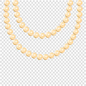 Pearl necklace isolated on transparent background, stock illustration vector