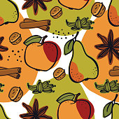 Pears, Apples and spice Seamless pattern