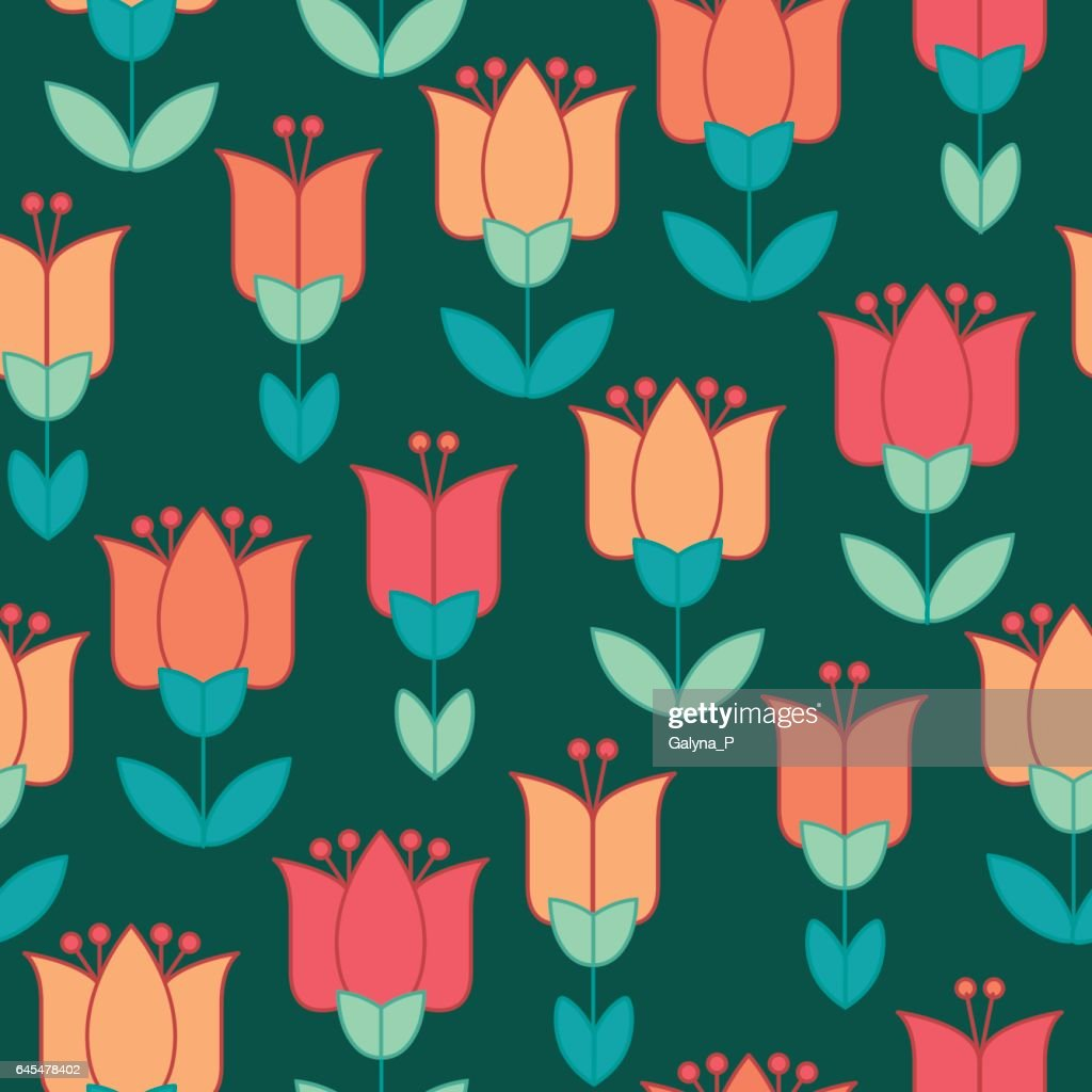 peasant style simple floral pattern on blue color. naive traditional nostalgic flower seamless pattern vector illustration for fabric, background, wrapping paper on deep green background