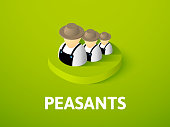 Peasants isometric icon, isolated on color background