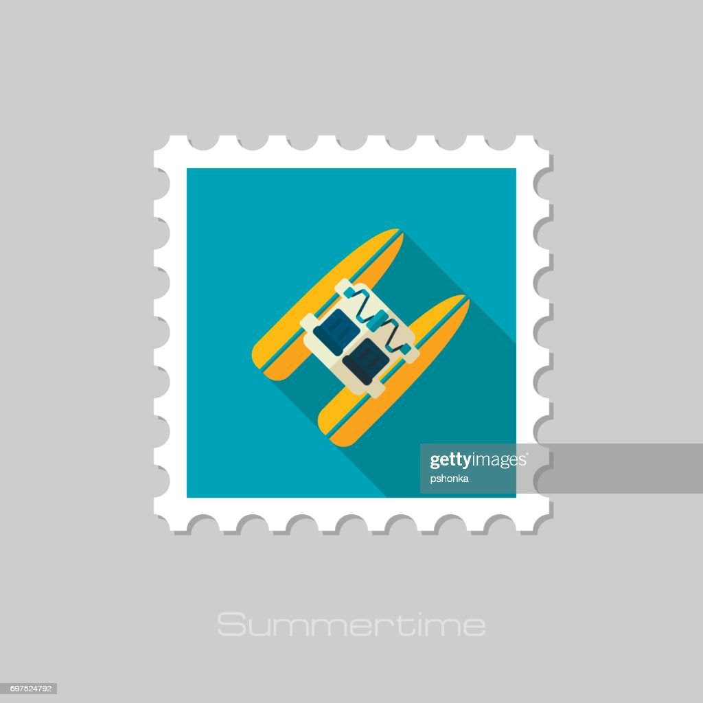 Pedalo boat beach stamp. Summer. Vacation