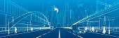 Pedestrian arch bridge. Wide highway. Road overpass. Urban infrastructure, modern city on background, industrial architecture. People walking. Truck rides. White lines, night scene, vector design art