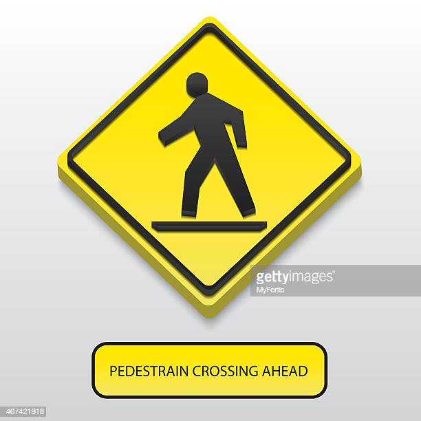 3d pedestrian crossing ahead sign - safety american football player stock illustrations, clip art, cartoons, & icons