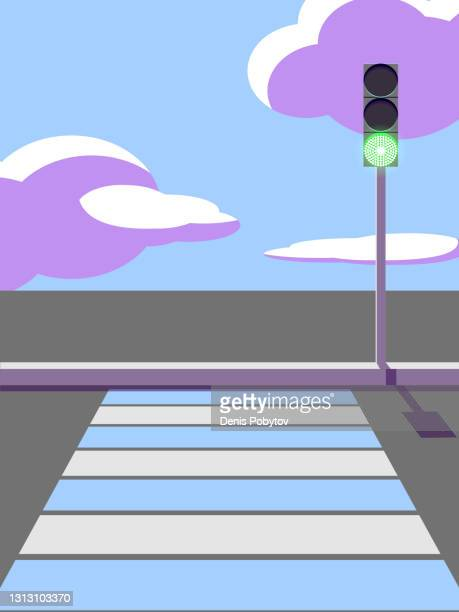 pedestrian crossing and traffic light. - zebra crossing stock illustrations