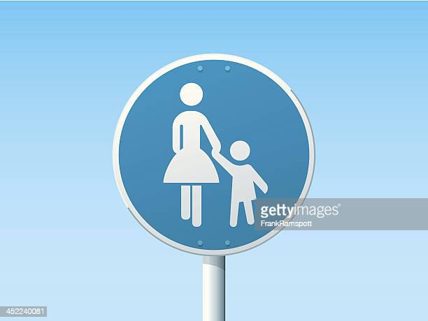 pedestrian lane german road sign blue - pedestrian stock illustrations, clip art, cartoons, & icons