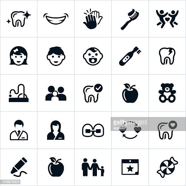 pediatric dentistry icons - dental equipment stock illustrations