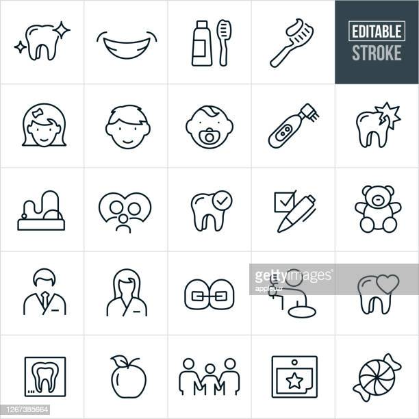 pediatric dentistry thin line icons - editable stroke - toothy smile stock illustrations