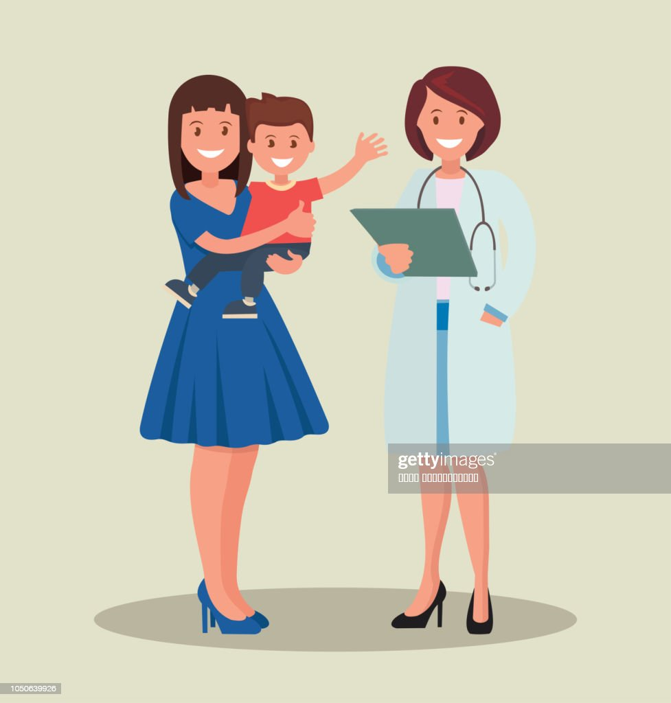 A pediatrician and a mother with a child. Taking care of the child s health.