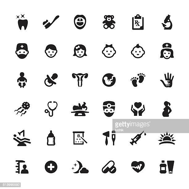 pediatrician and babies vector symbols and icons - dental equipment stock illustrations
