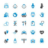 Pediatrician and Reproduction related vector icons