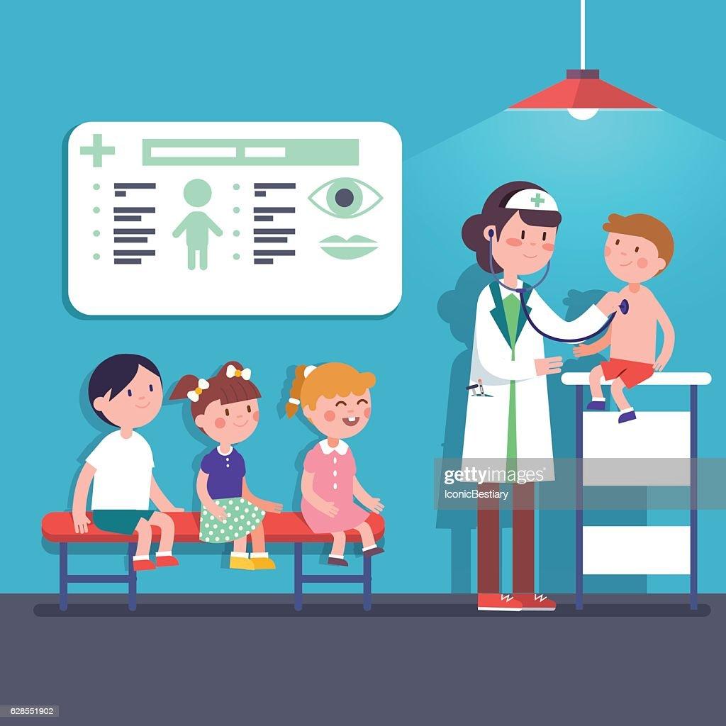 Pediatrician doctor woman examining kids
