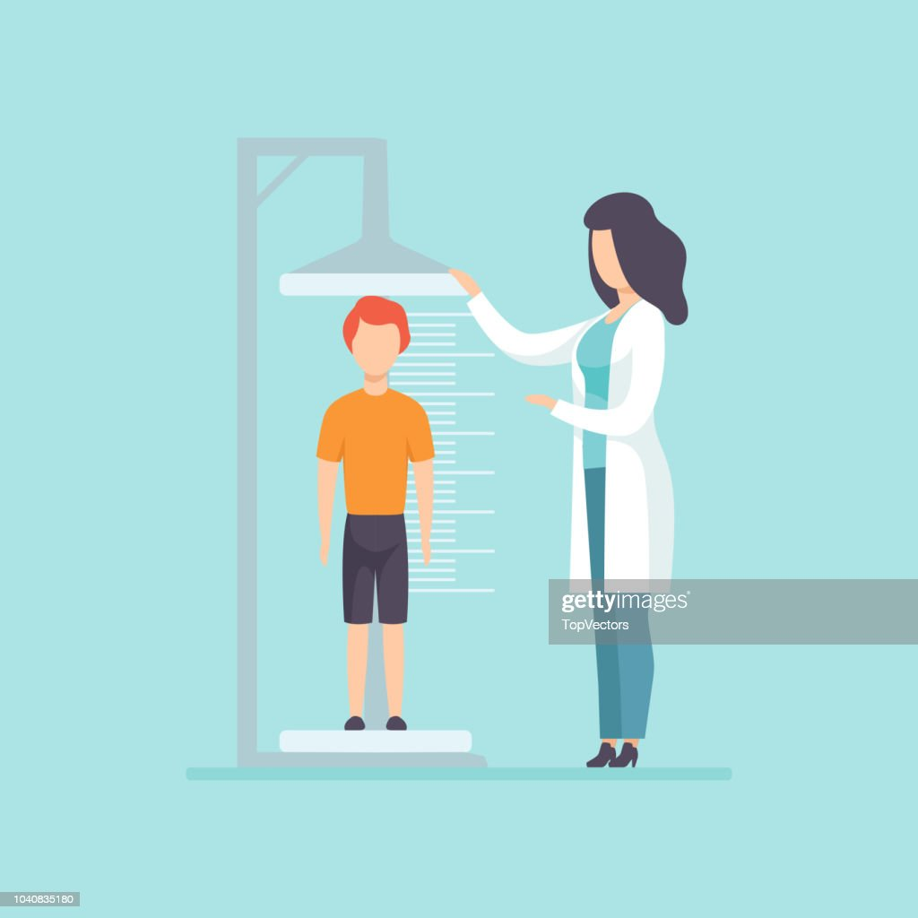 Pediatrician examining a boy in a medical office, doctor measuring the growth of a child, medical treatment and healthcare concept vector Illustration