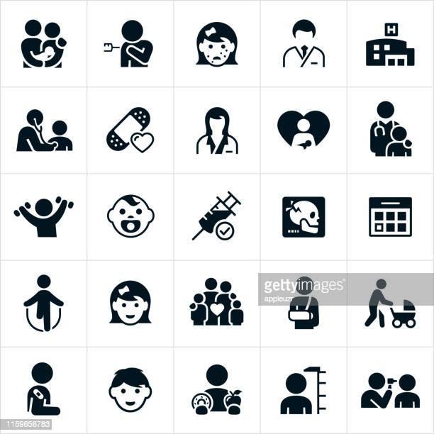 pediatrics icons - pediatrician stock illustrations