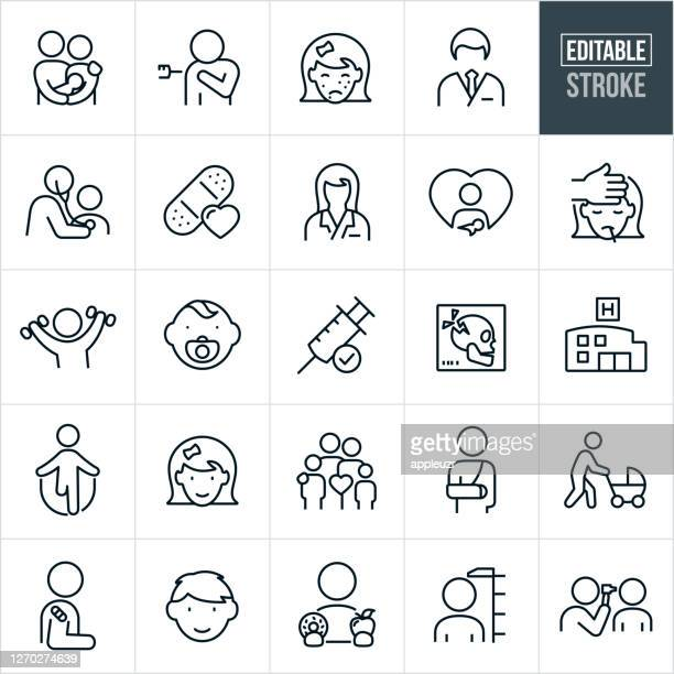 小児科の細線アイコン - 編集可能なストローク - 小児科医点のイラスト素材/クリップアート素材/マンガ素材/アイコン素材
