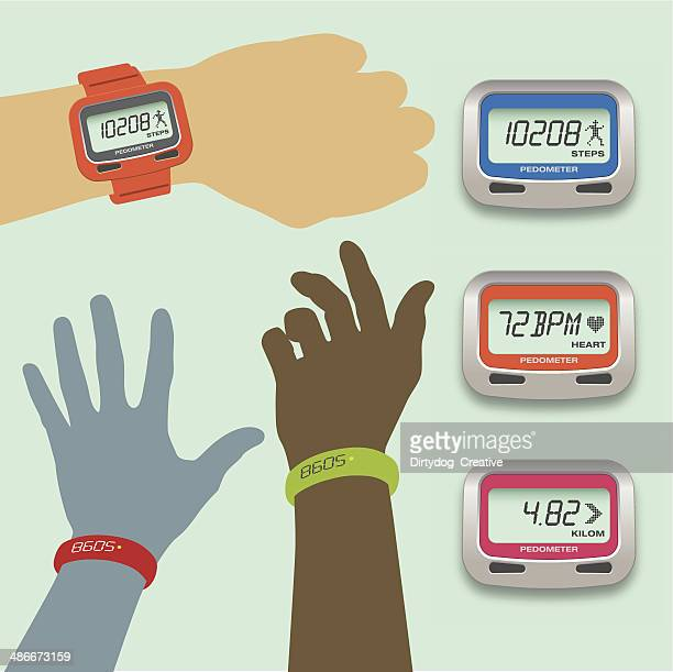 pedometer concepts with steps, heart rate and distance displays - wrist stock illustrations, clip art, cartoons, & icons