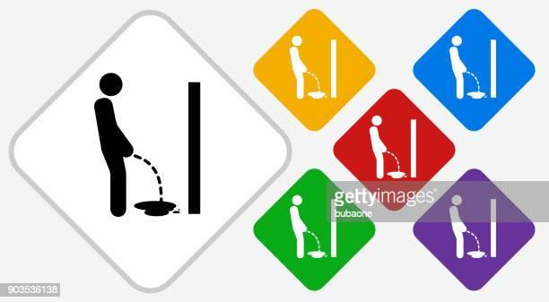 ilustraciones, imágenes clip art, dibujos animados e iconos de stock de orinar color diamante vector icono - orina