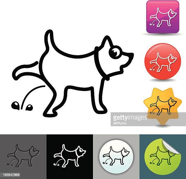 ilustraciones, imágenes clip art, dibujos animados e iconos de stock de peeing perro iconos/serie solicosi - orina