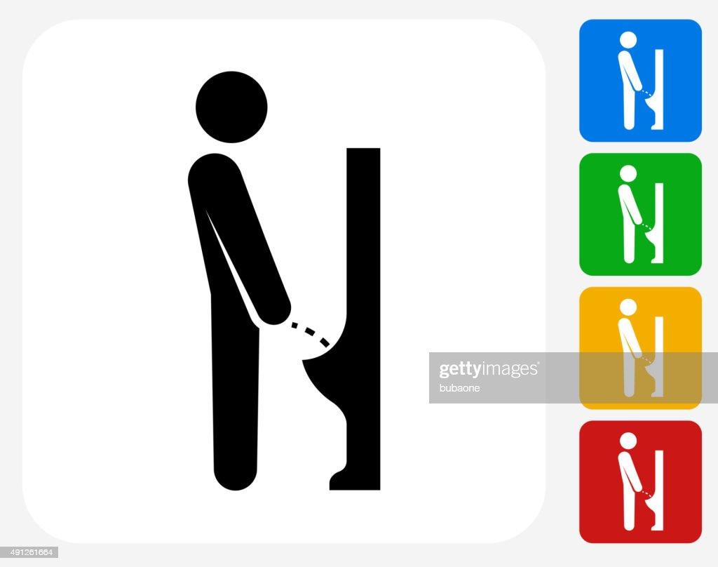 Peeing Urinal Icon Flat Graphic Design