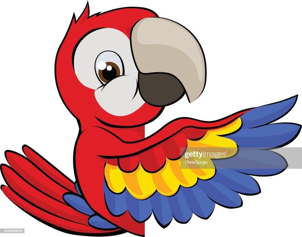 Peeking Cartoon Parrot