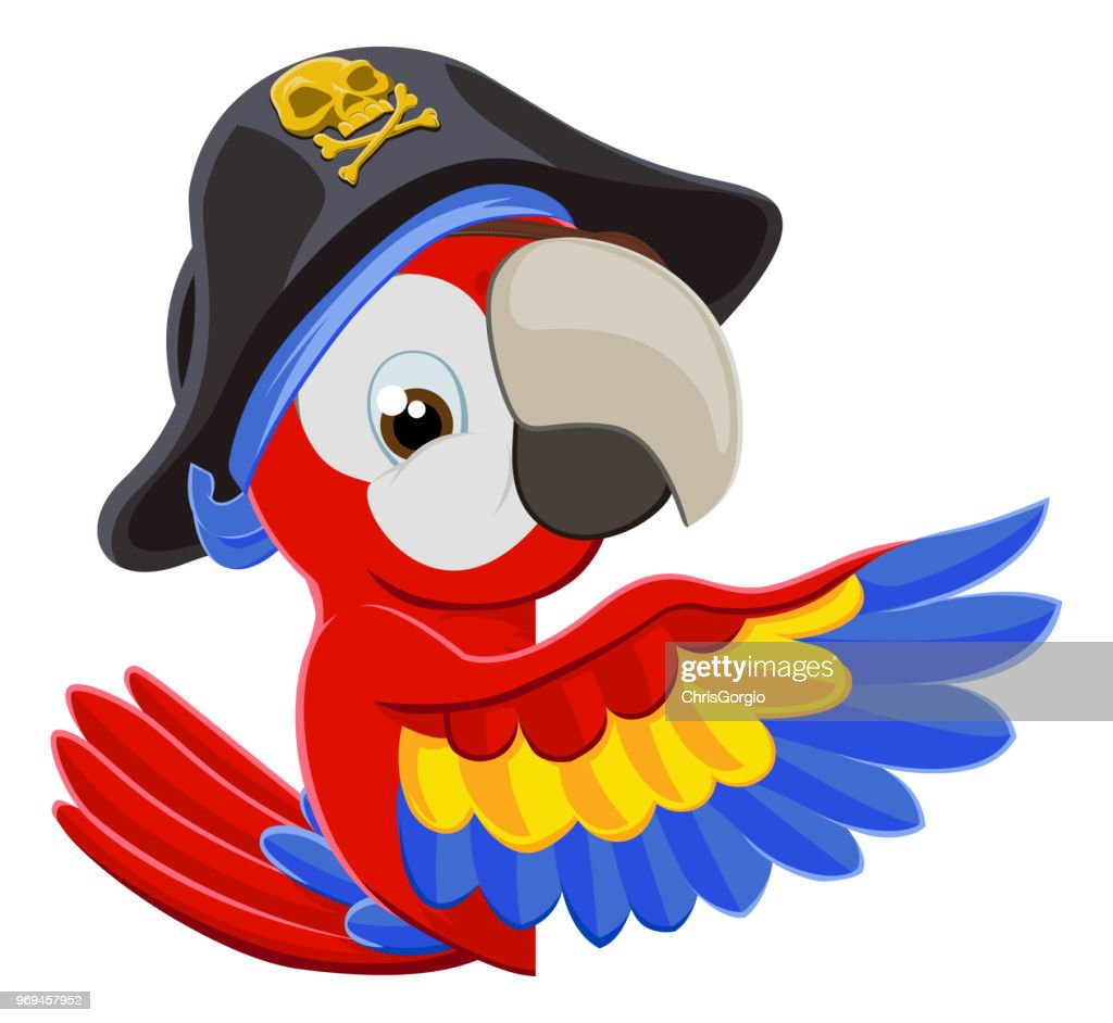 Peeking Cartoon Pirate Parrot