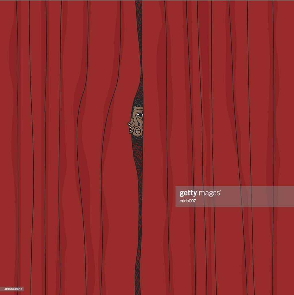 Peeking From Curtain : stock illustration