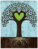 Peeling paint green heart tree