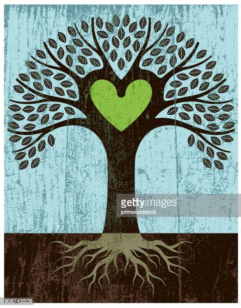 peeling paint green heart tree - root stock illustrations, clip art, cartoons, & icons
