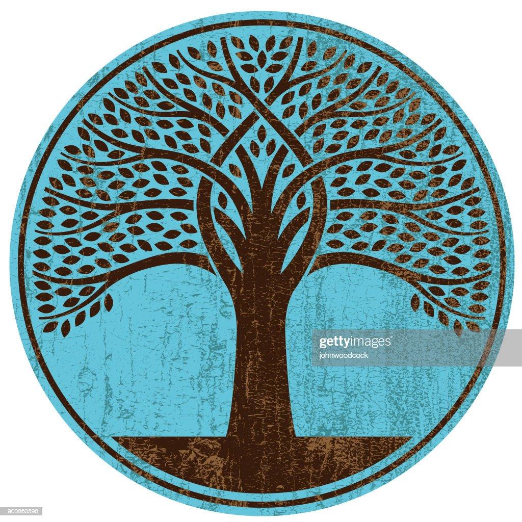 Peeling paint round tree vector