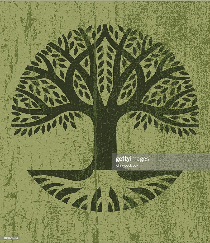 Peeling paint tree icon : Stock Illustration