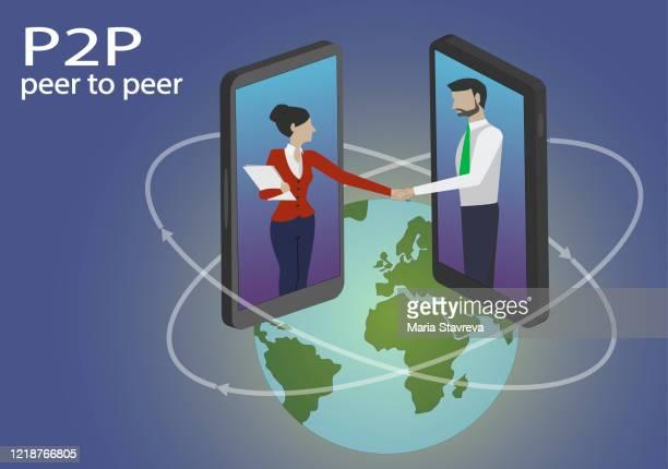 stockillustraties, clipart, cartoons en iconen met p2p peer-to-peer leningen. twee zakenman die met elkaar door mobiele apparaatvertoningen in interactie is. - lening