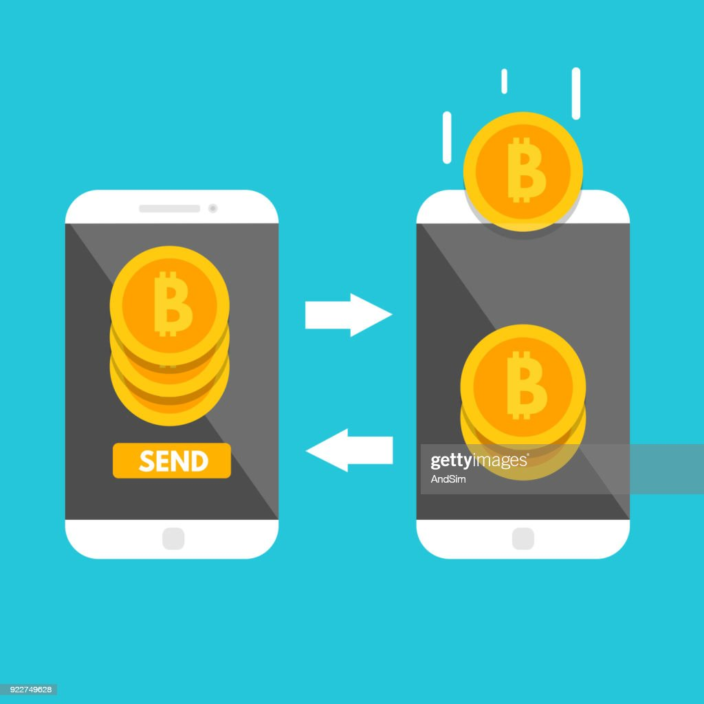 Peer to peer payments. Smartphone transfer money.  Cryptocurrency Transaction. Vector illustration.