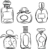 Pefume bottle in black and white