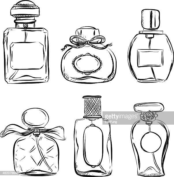 Pefume bottle in black and white