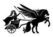 Pegasus and an ancient warrior.