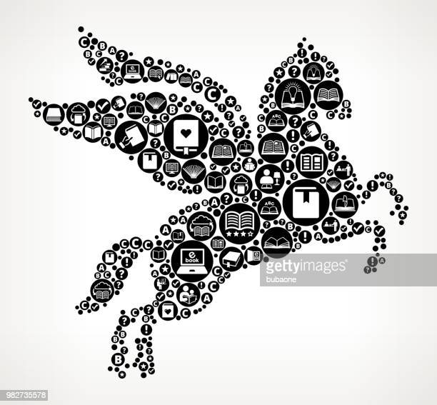 pegasus books and reading icon pattern background - pegasus stock illustrations, clip art, cartoons, & icons