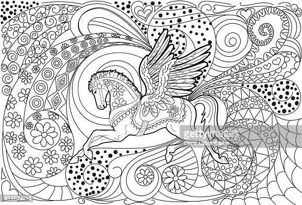 pegasus hand drawn adult coloring book page - pegasus stock illustrations, clip art, cartoons, & icons