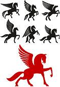 Pegasus horses icons for heraldic design