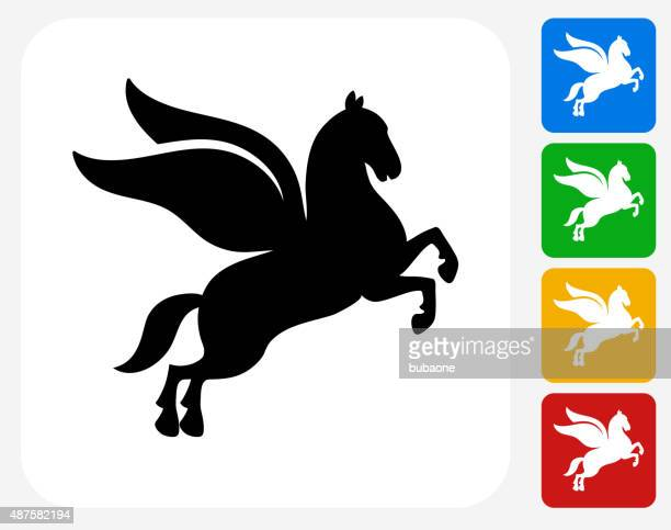 pegasus icon flat graphic design - pegasus stock illustrations, clip art, cartoons, & icons