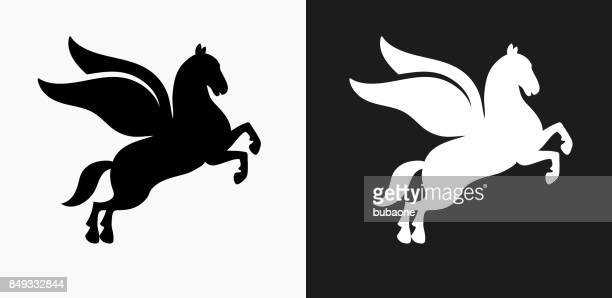 pegasus icon on black and white vector backgrounds - pegasus stock illustrations, clip art, cartoons, & icons