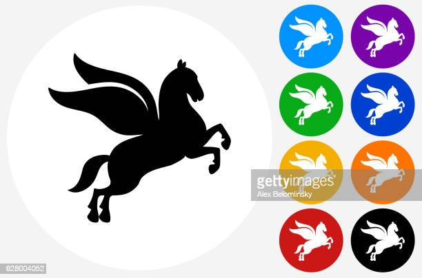 pegasus icon on flat color circle buttons - pegasus stock illustrations, clip art, cartoons, & icons