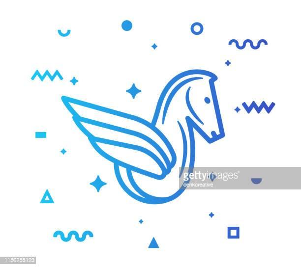 illustrations, cliparts, dessins animés et icônes de pegasus line style icon design pegasus line icon design - licorne