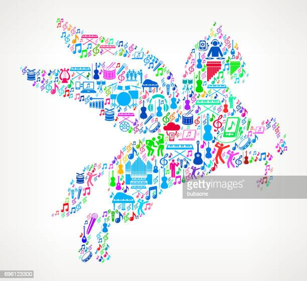 pegasus music and musical celebration vector icon background - pegasus stock illustrations, clip art, cartoons, & icons