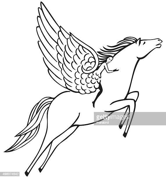 pegasus - animal body stock illustrations