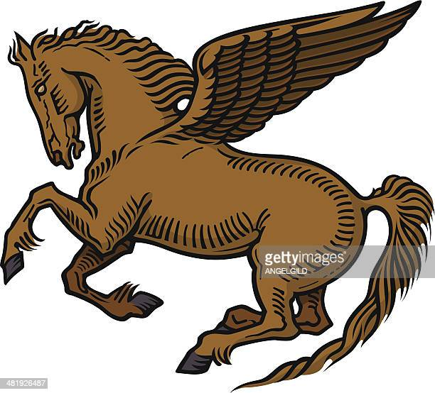 pegasus winged horse - pegasus stock illustrations, clip art, cartoons, & icons