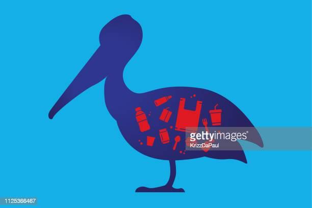 ペリカンと gabage - 水鳥点のイラスト素材/クリップアート素材/マンガ素材/アイコン素材