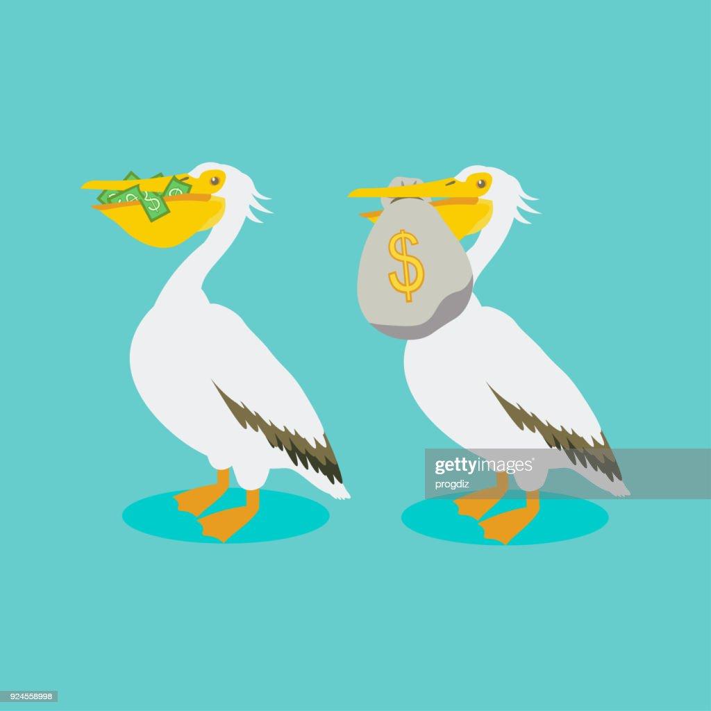 Pelican holding in its beak cash, money bag.
