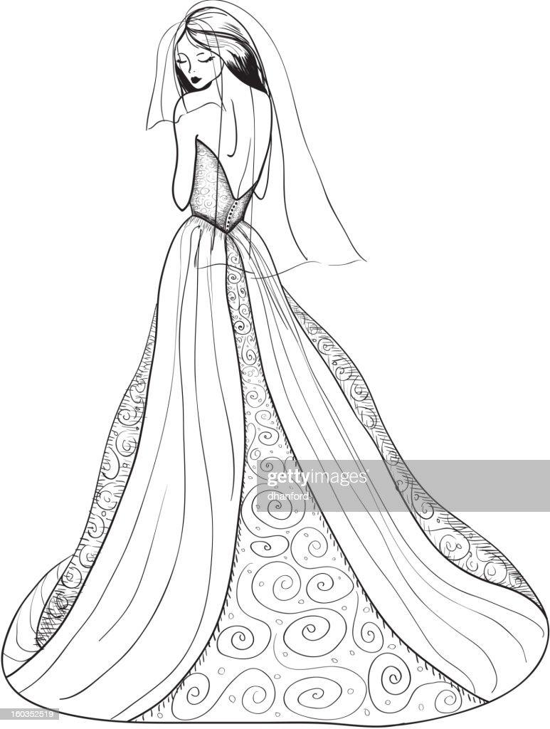 Dibujos de vestidos de noche a lapiz