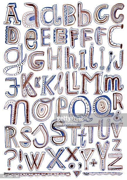 pen and ink doodle alphabet isolated on white - pejft 幅插畫檔、美工圖案、卡通及圖標
